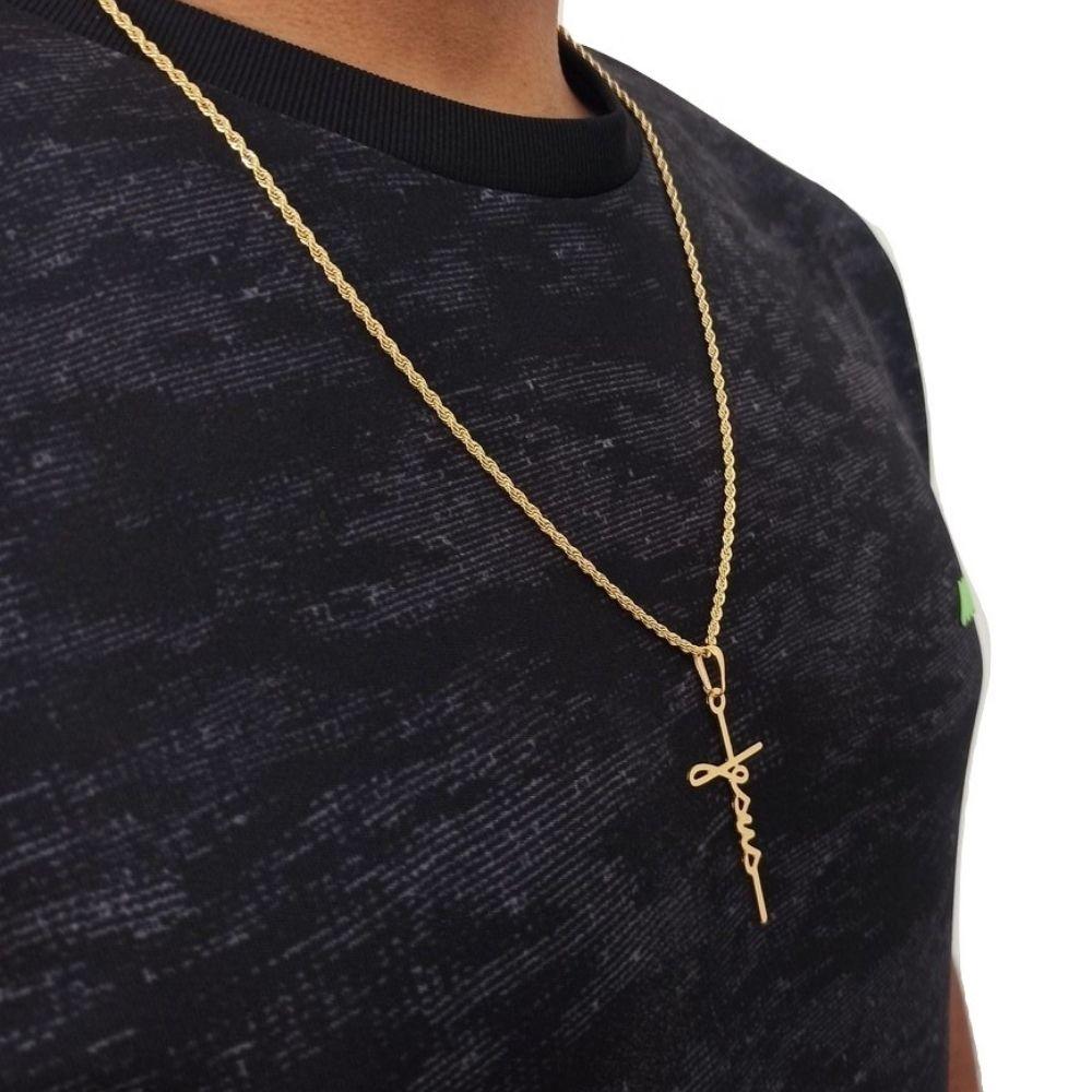 Corrente Com Pingente de Cruz Banhado Ouro 60 cm Rellicari