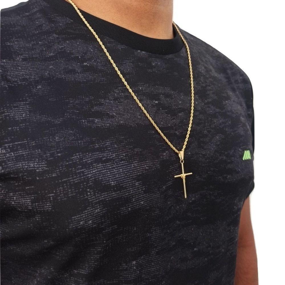 Corrente Crucifixo Masculino 60 Cm Banhado A Ouro Rellicari