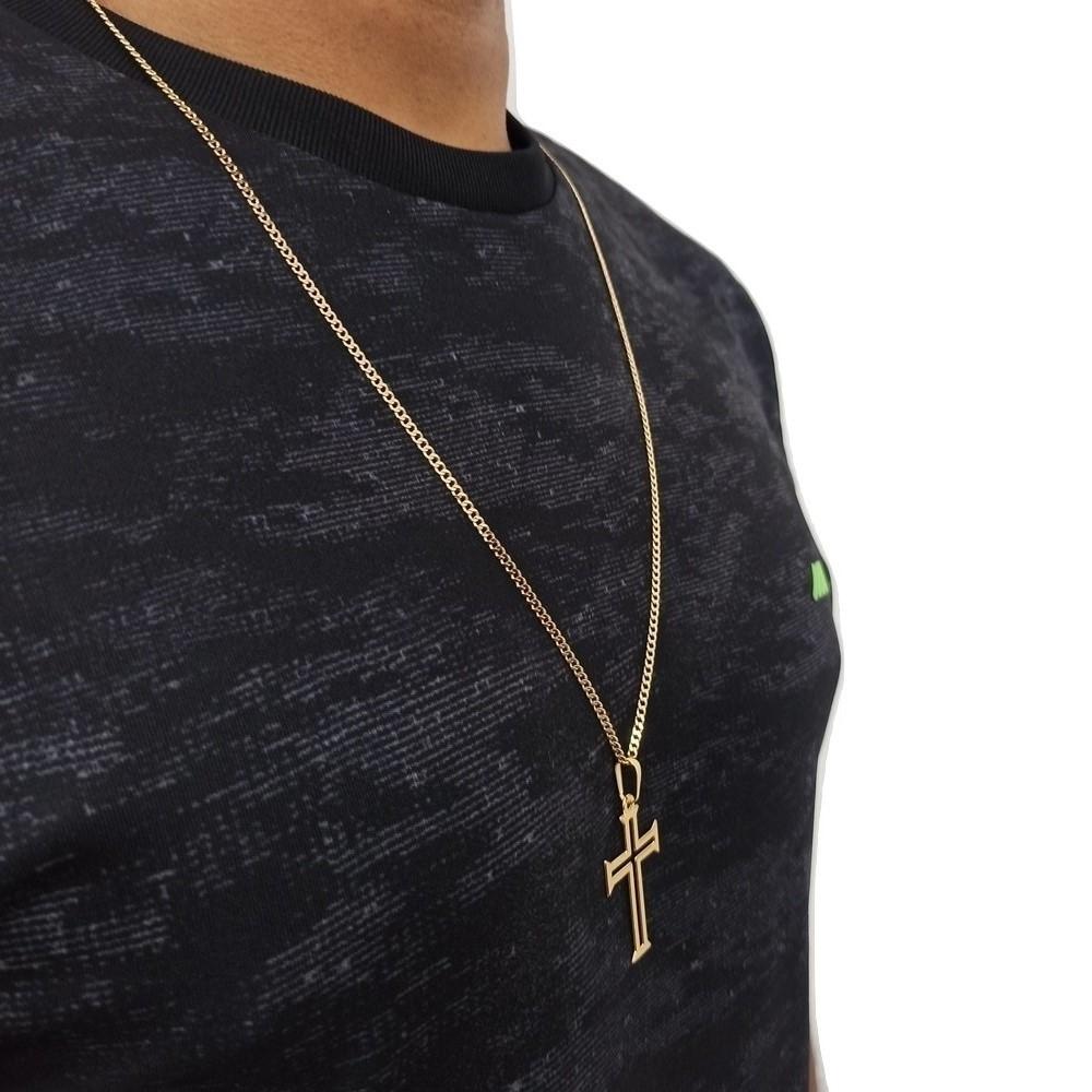 corrente crucifixo masculino Banhado A Ouro 60Cm Rellicari
