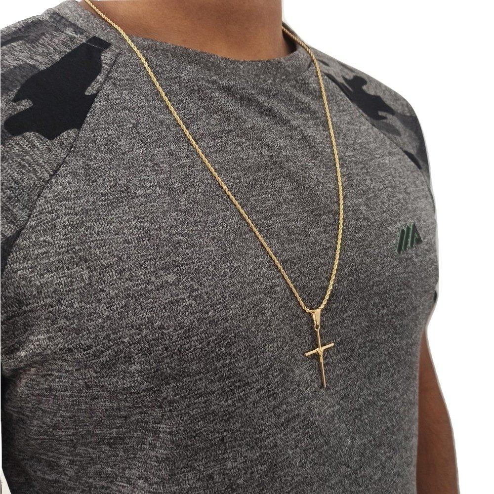 Corrente Crucifixo Masculino Banhado A Ouro 70 Cm Rellicari