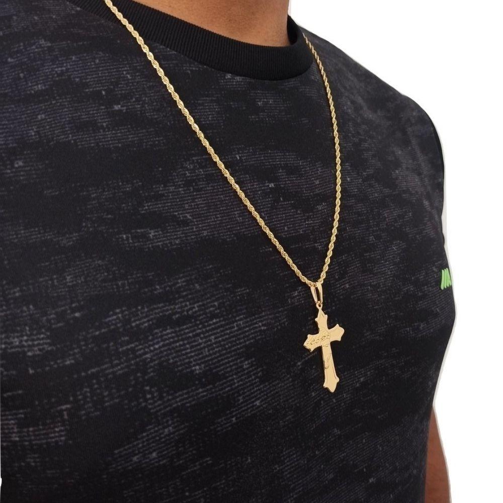 Corrente Masculina com Crucifixo Banhado A Ouro Rellicari