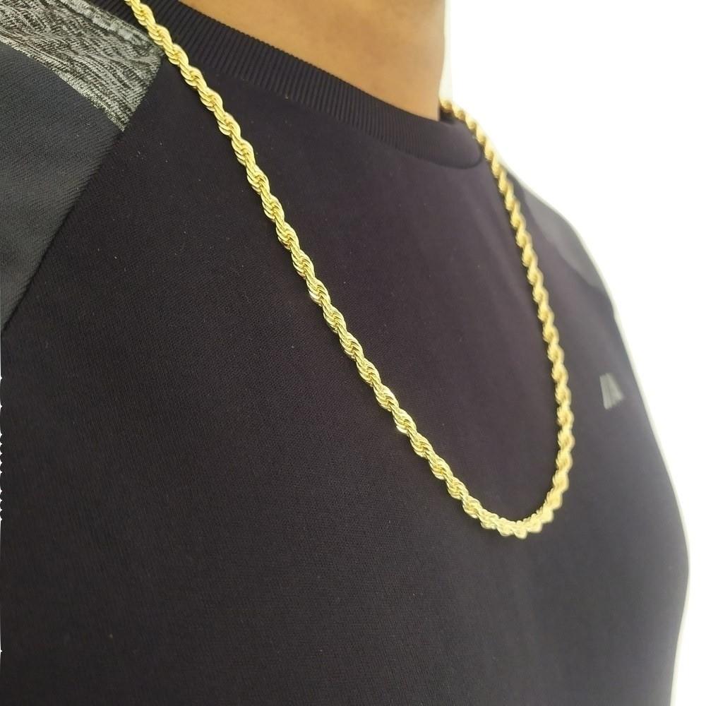 Corrente cordão baiano grosso Banhada a ouro 18k Colar masculino trançado torcido folheado a ouro 60 Cm C010