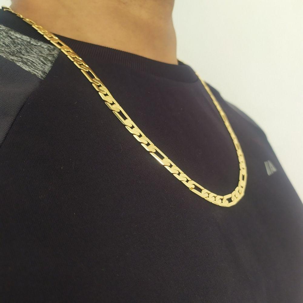 Corrente Rellicari Banhada A Ouro Masculina Grossa 60cm C029