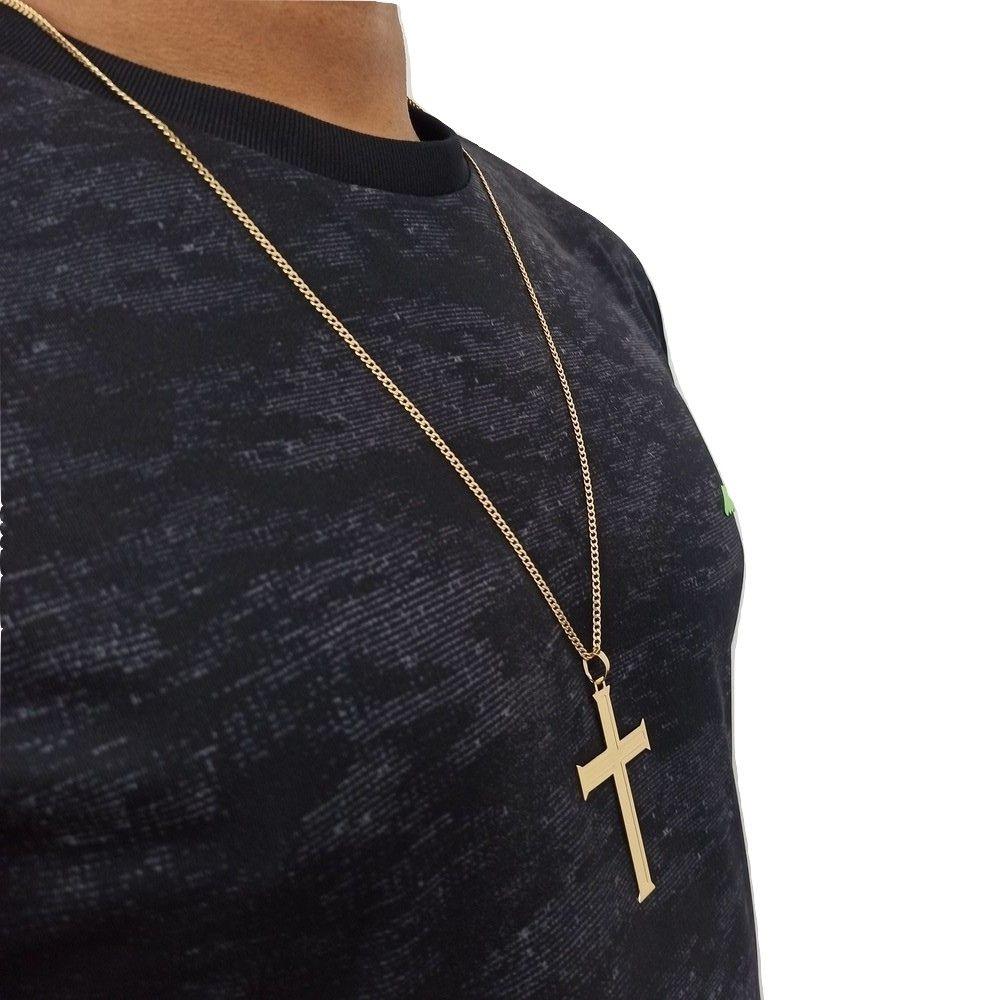Corrente Rellicari Com Pingente Crucifixo Banhado A Ouro 18k