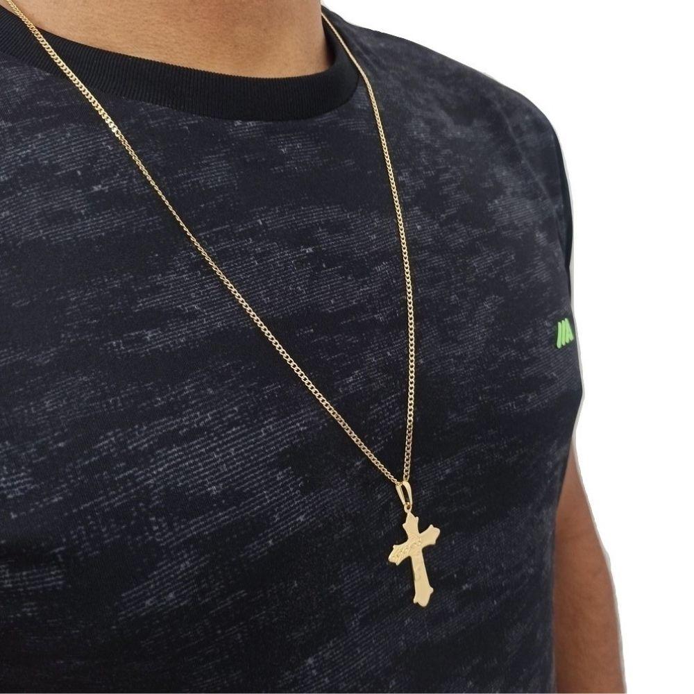 Corrente Rellicari Masculino 70Cm Com Pingente de Crucifixo