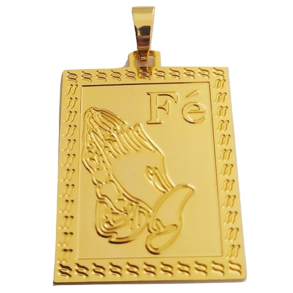 Pingente Rellicari Placa Escrito Fé Banhado a Ouro 18k R018