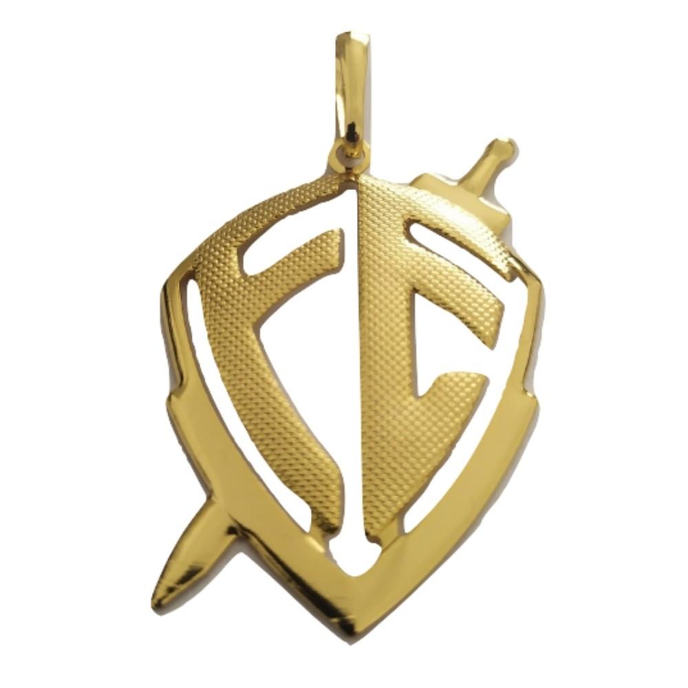 Pingente Rellicari Escudo Da Fé Vazado Banhado a Ouro R015