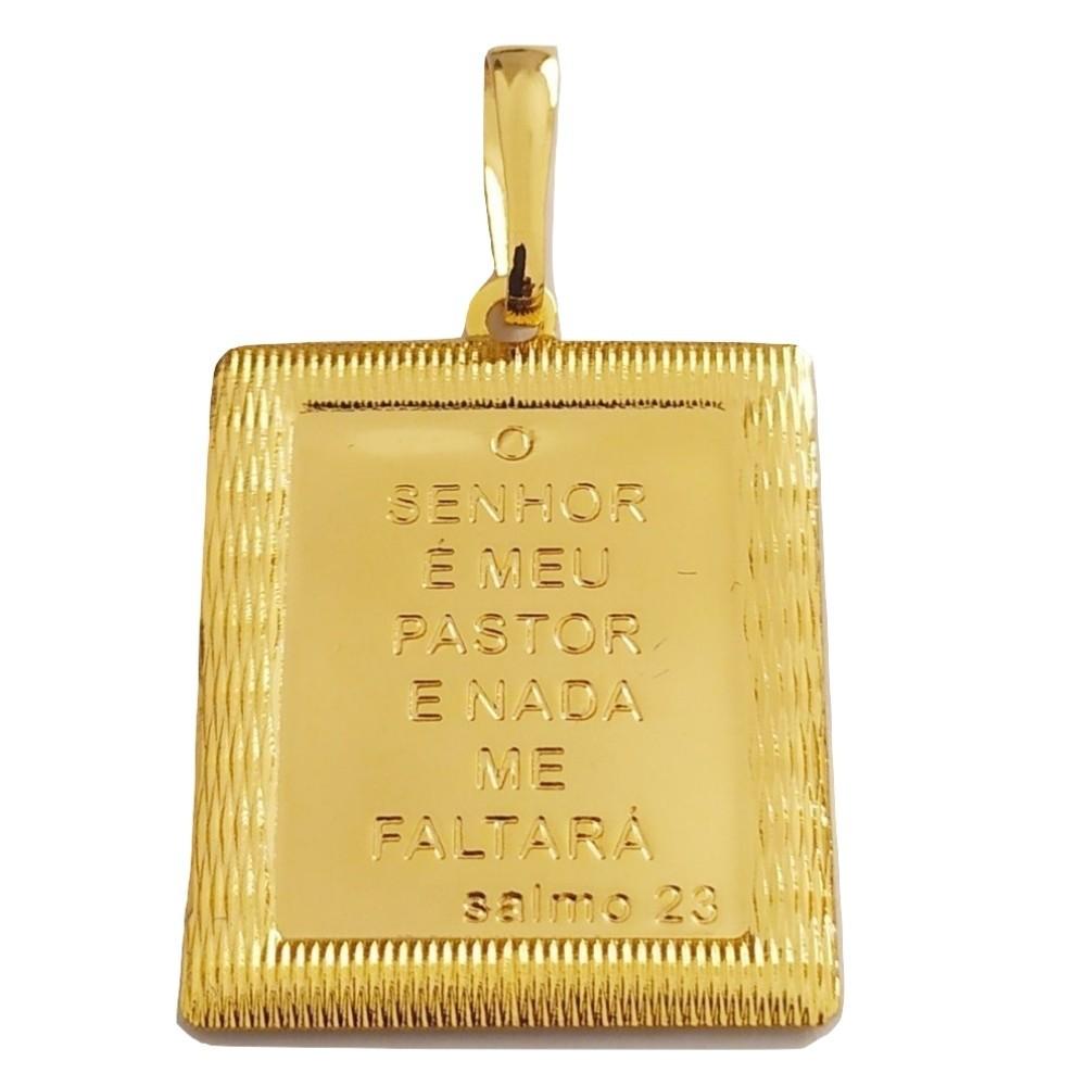 Pingente Rellicari Placa Salmo 23 Banhado a Ouro 18k R019