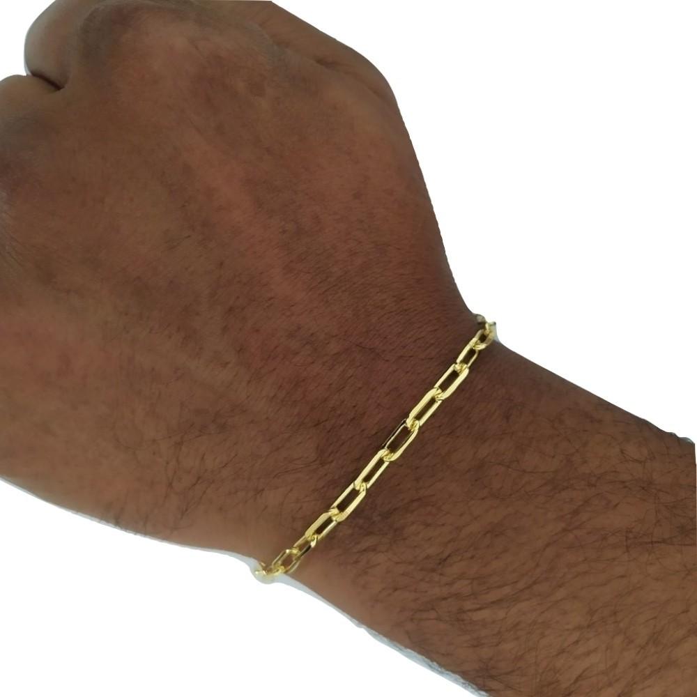 Pulseira Rellicari Banhado A Ouro Masculina 21 Cm P017