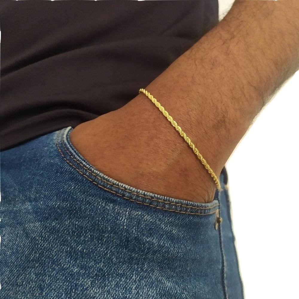 Pulseira Rellicari Masculina 21 Cm Banhado A Ouro P002