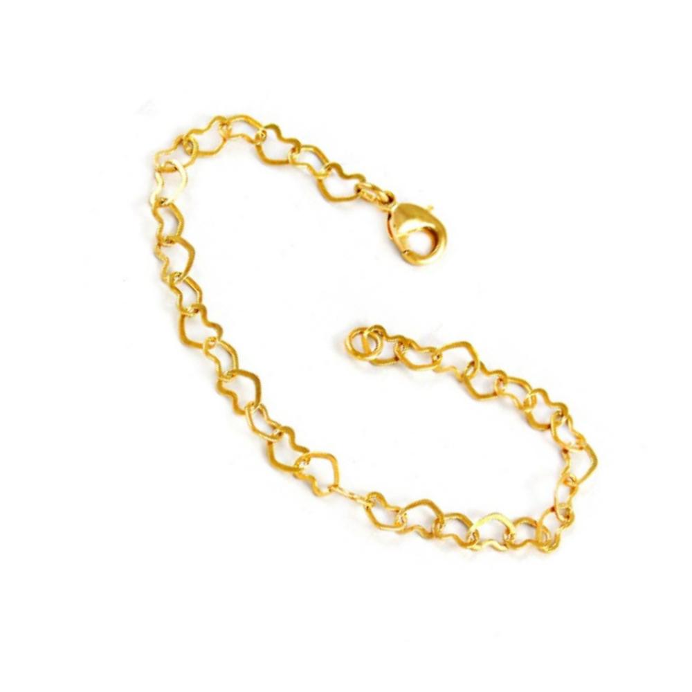 Pulseira Rellicari de Coracao 18 Cm Banhado a Ouro P022