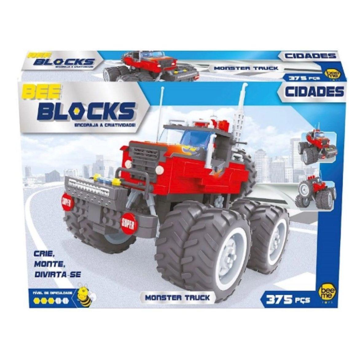 Blocos de Encaixe Bee Blocks Monster Truck - 375 peças - Beeme Toys