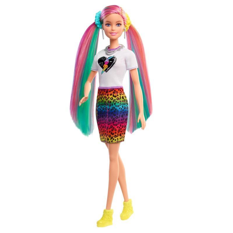 Boneca Barbie de Cabelo Arco-Íris Leopardo (loira) com 14 peças - Mattel