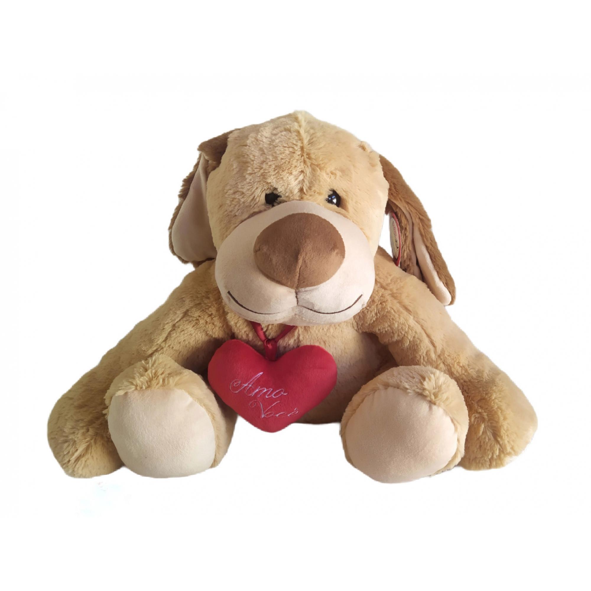 Cão Bob em Pelúcia com coração Amo Você 37 cm - Lovely Toys