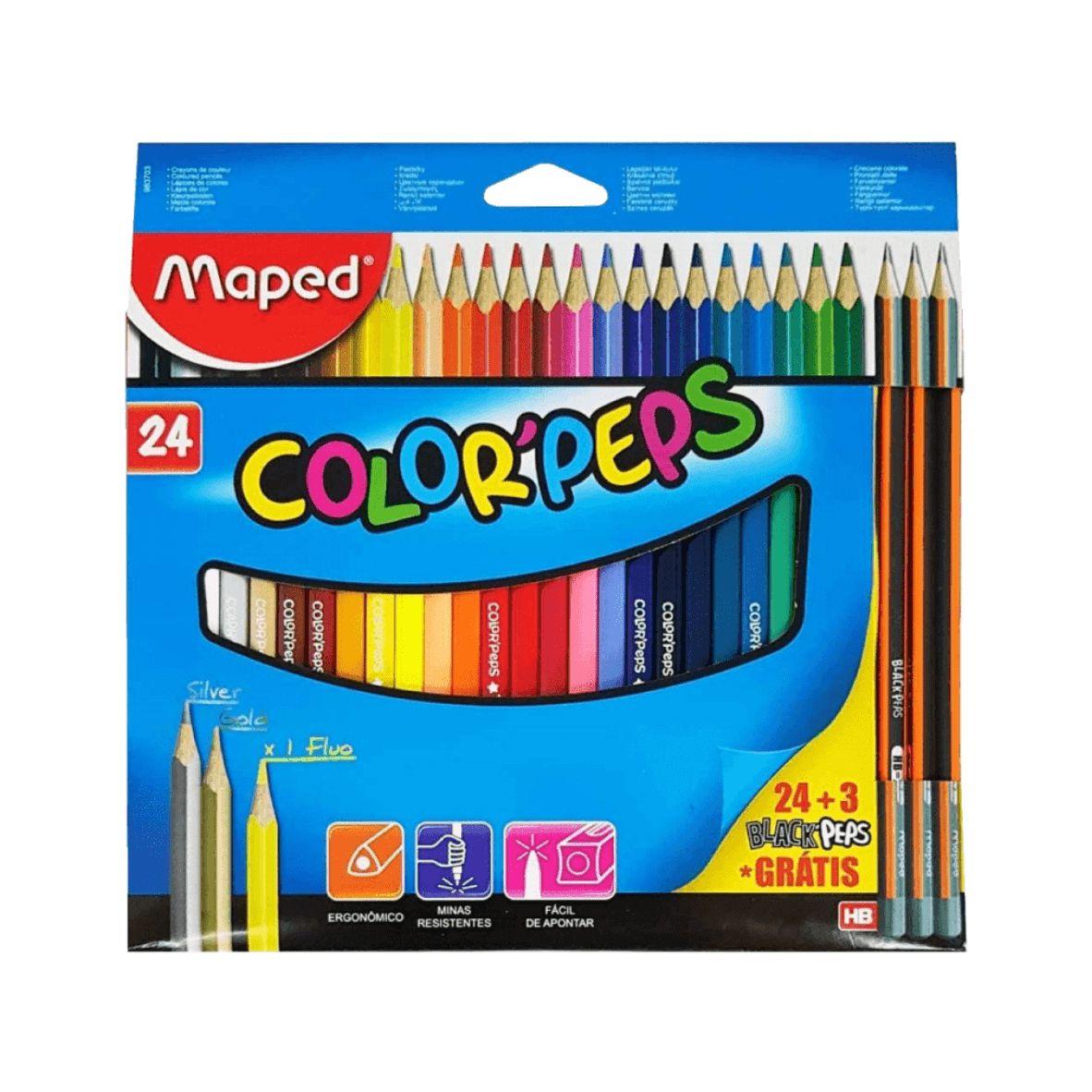 Conjunto Color'Peps 24 cores + 3 Lápis Pretos Grátis - Maped
