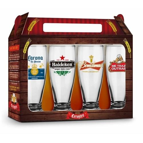 Conjunto com 4 Copos Seleção Cervejeiro Internacional - Brasfoot