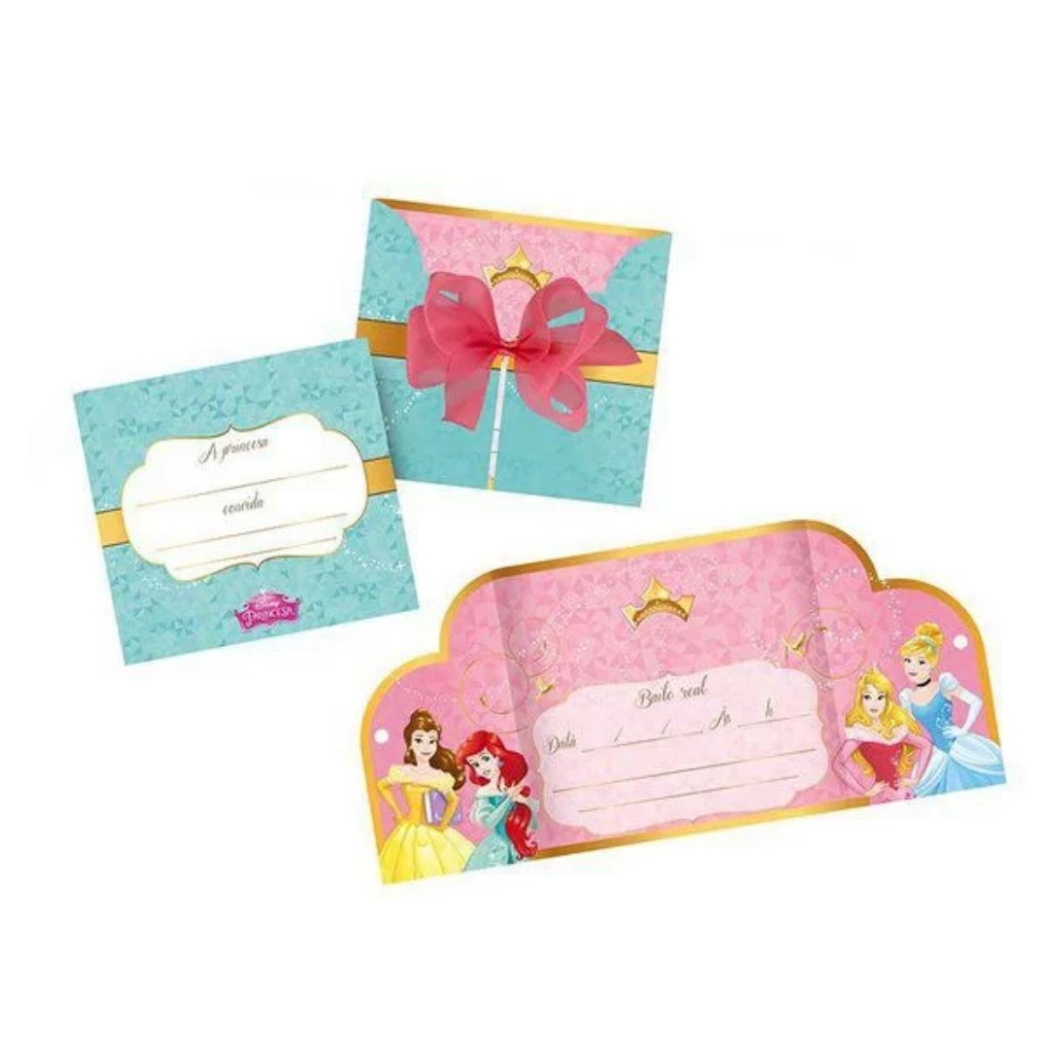 Convite Grande Disney Princesa com 8 unidades
