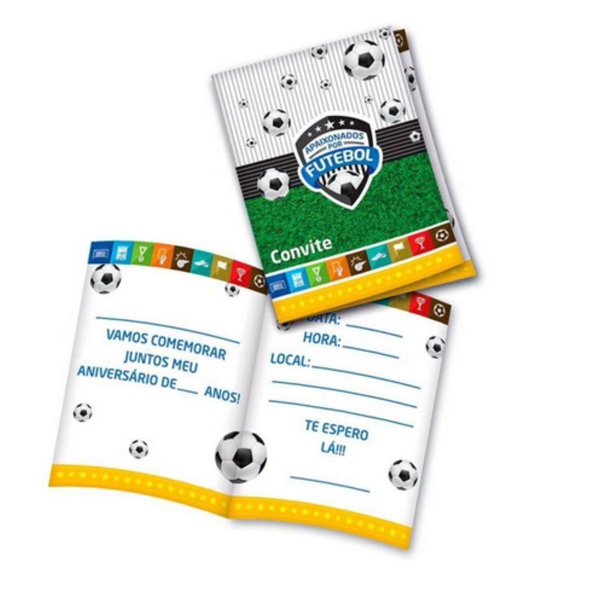 Convite Apaixonados por Futebol pequeno com 8 unidades