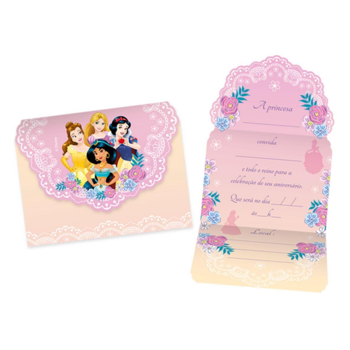 Convite grande Princesa com 8 unidades