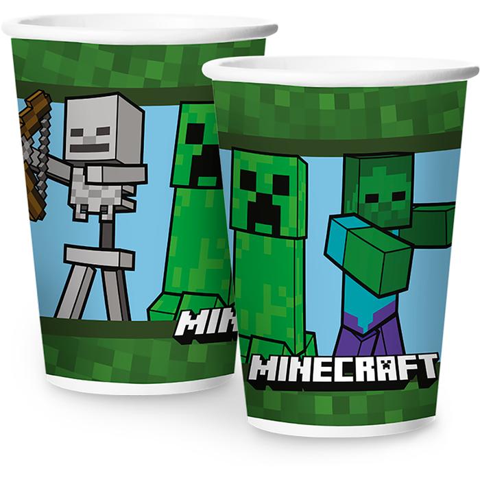 Copo de Papel Minecraft 180ml - Pct Promocional Leve 12 e pague 10 unidades.