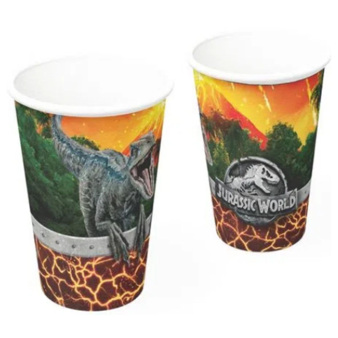 Copo de Papel Jurassic World 200 ml com 8 unidades