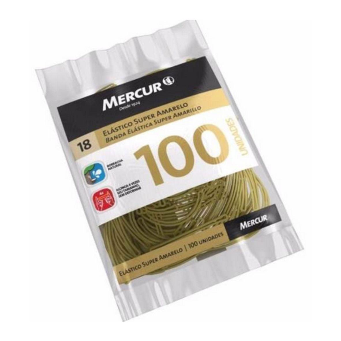 Pacote com 100 Elásticos Amarelos - Mercur