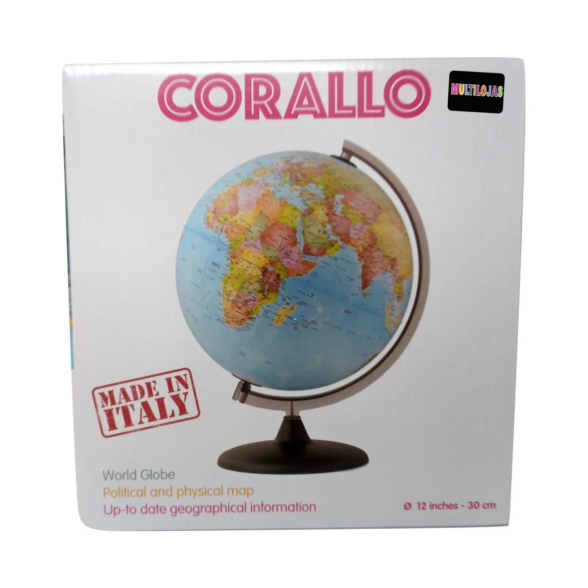 Globo terrestre politico Corallo - sem luz - 30 cm - Tecnodidattica