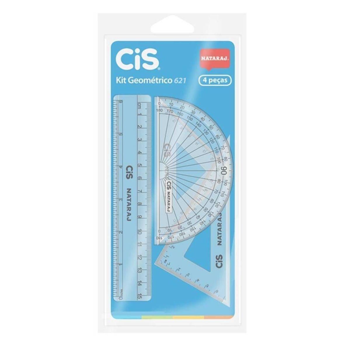 Kit Réguas Geométricas 4 Peças Transparente - CIS