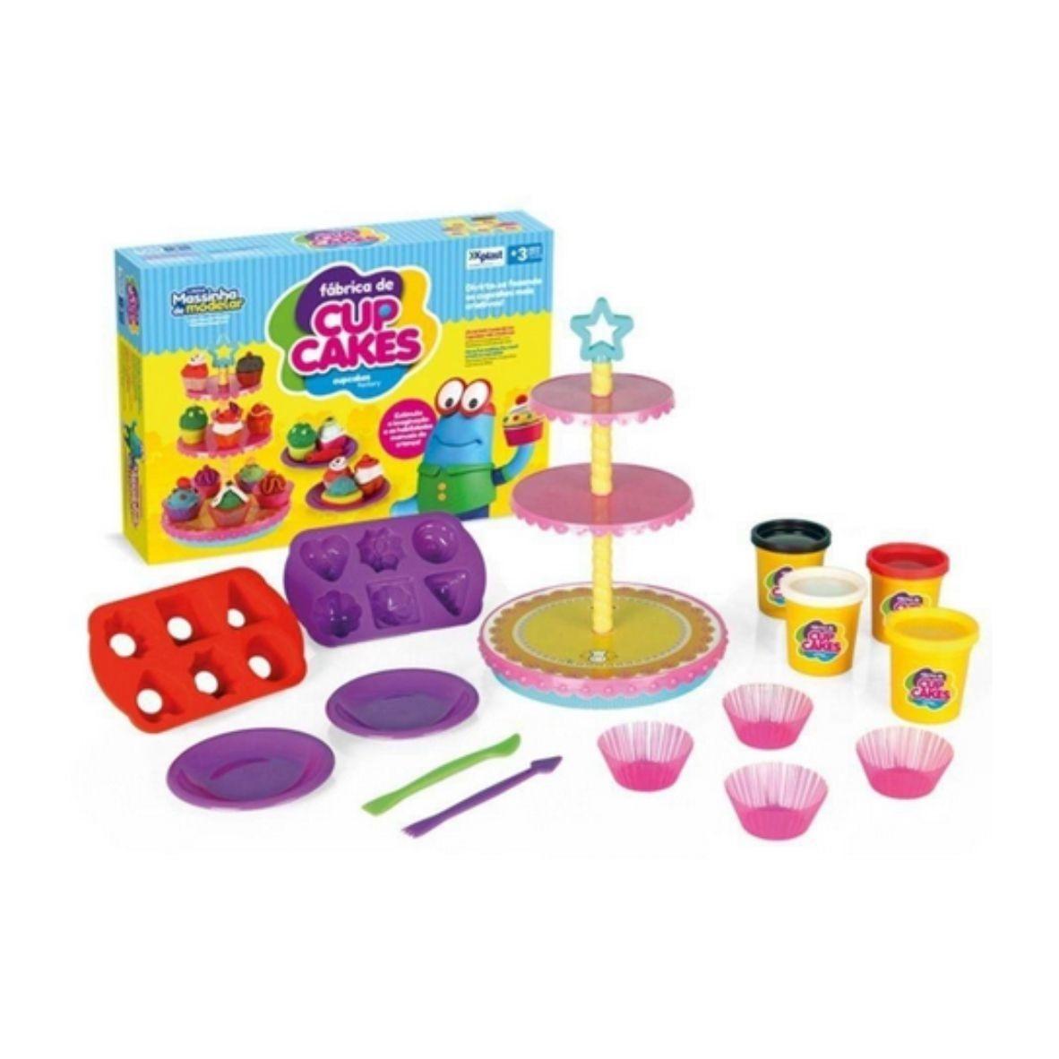 Massinha de Modelar Amasse e Brinque Fábrica de Cupcake - XPlast