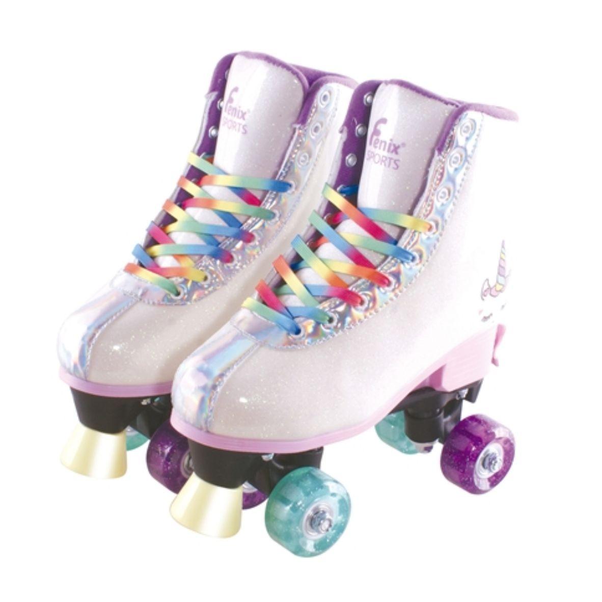 Patins Roller Skate Ajustável - Unicórnio Branco Rodas que Brilham - Fênix