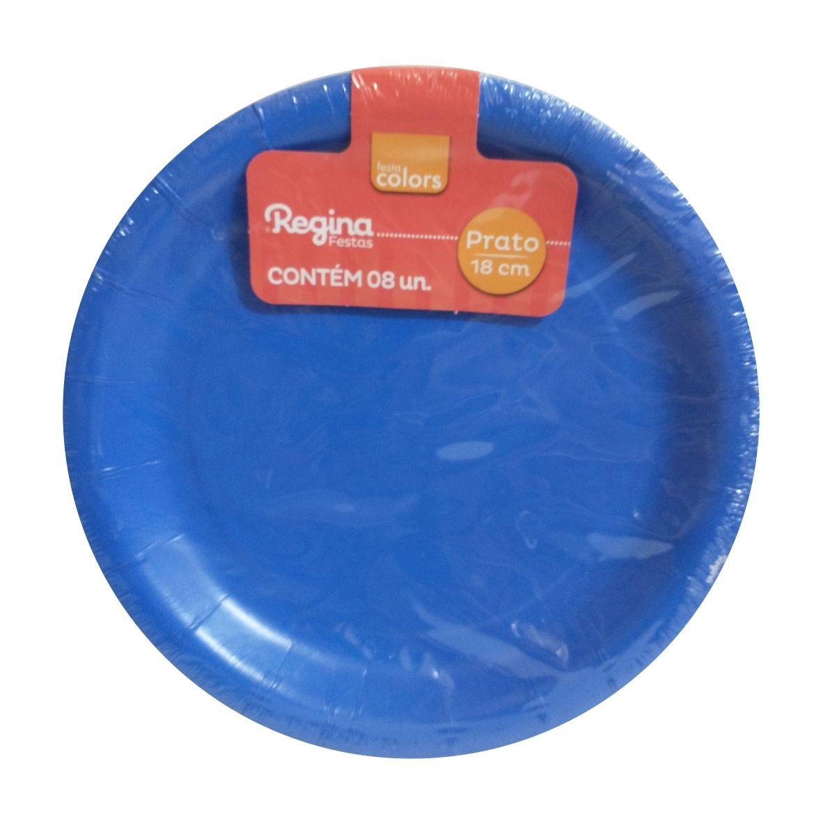 Prato de Papel Azul 18 cm com 8 unidades - Regina Festas