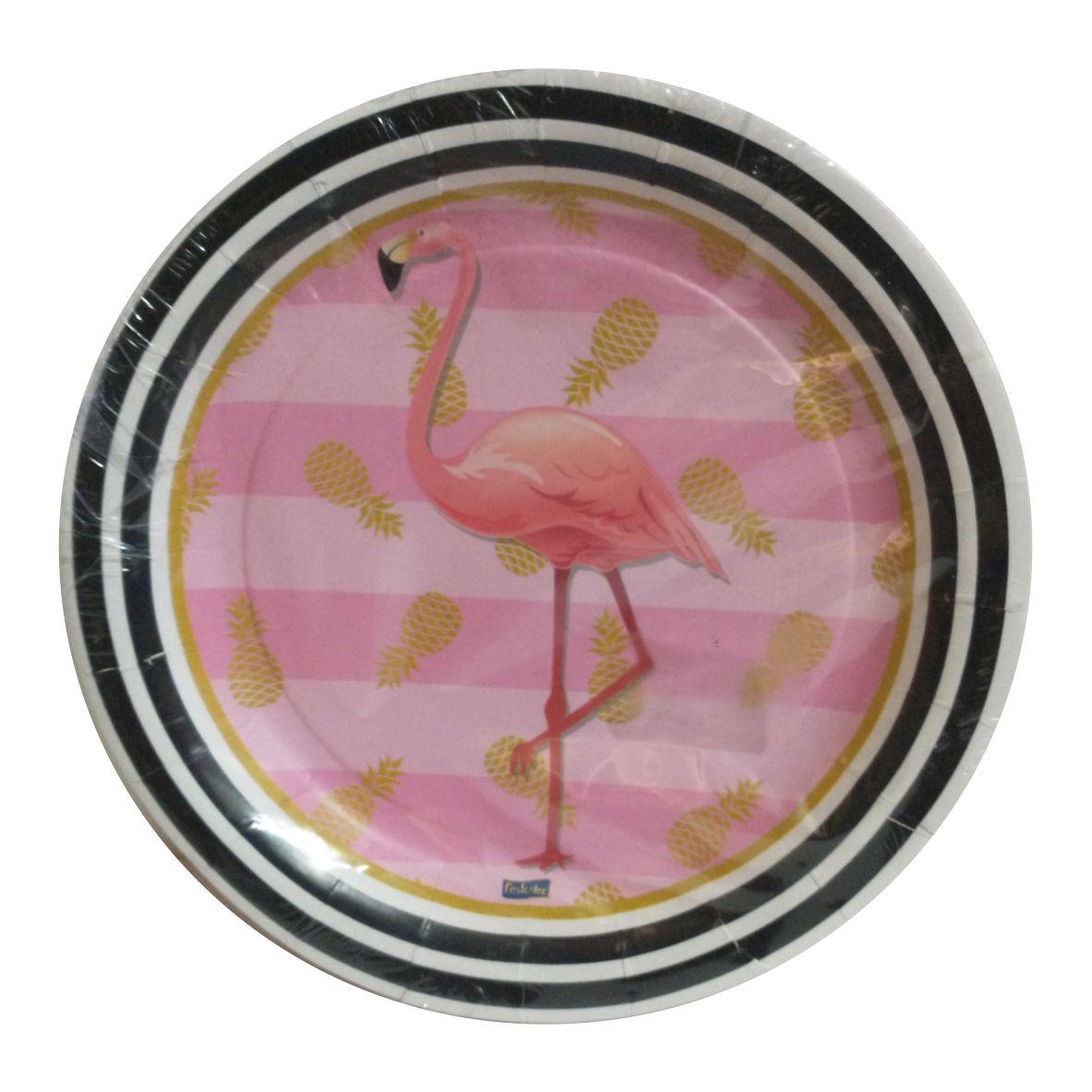 Prato de Papel Flamingo Rosa 18 cm com 8 unidades - Regina Festas