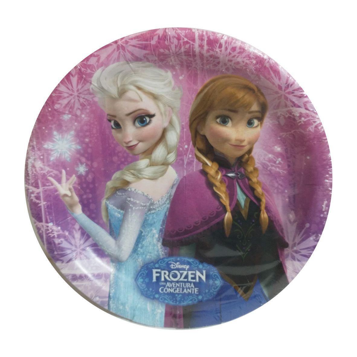 Prato de Papel Frozen 18 cm com 8 unidades - Regina Festas