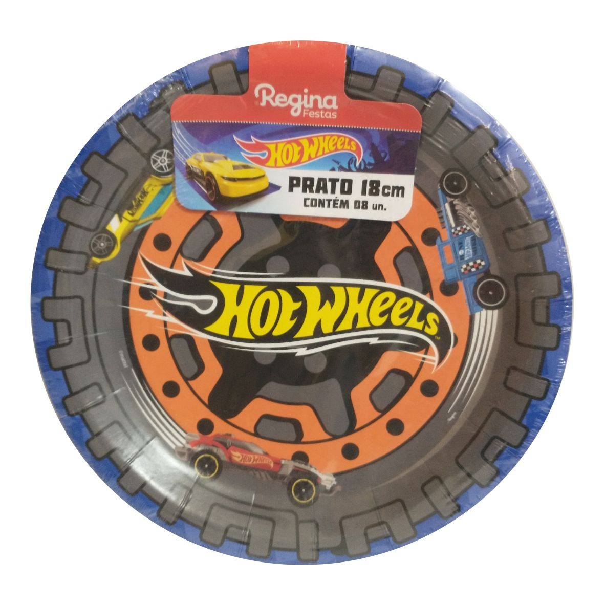 Prato Hot Wheels 18cm - pct c/ 08 unidades - Regina Festas