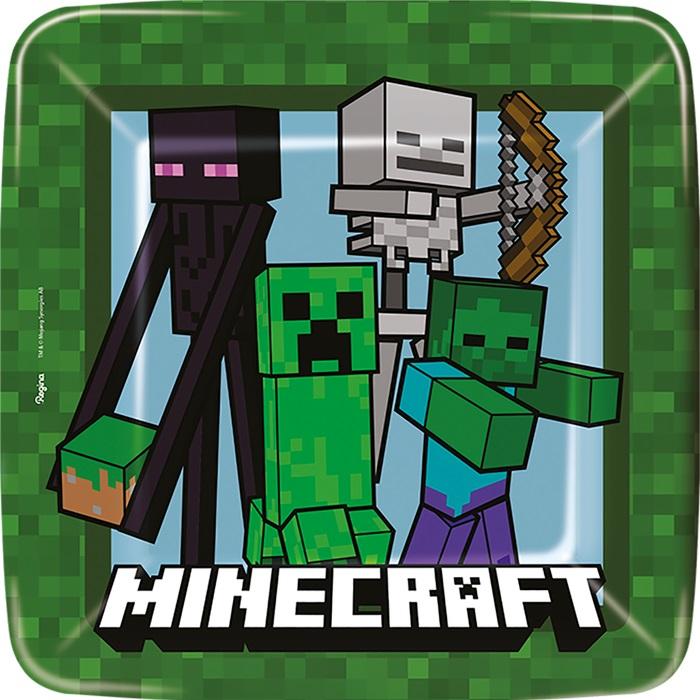 Prato de Papel Quadrado Minecraft 18 cm - Pct Econômico Leve 12 Pague 10 - Regina Festas