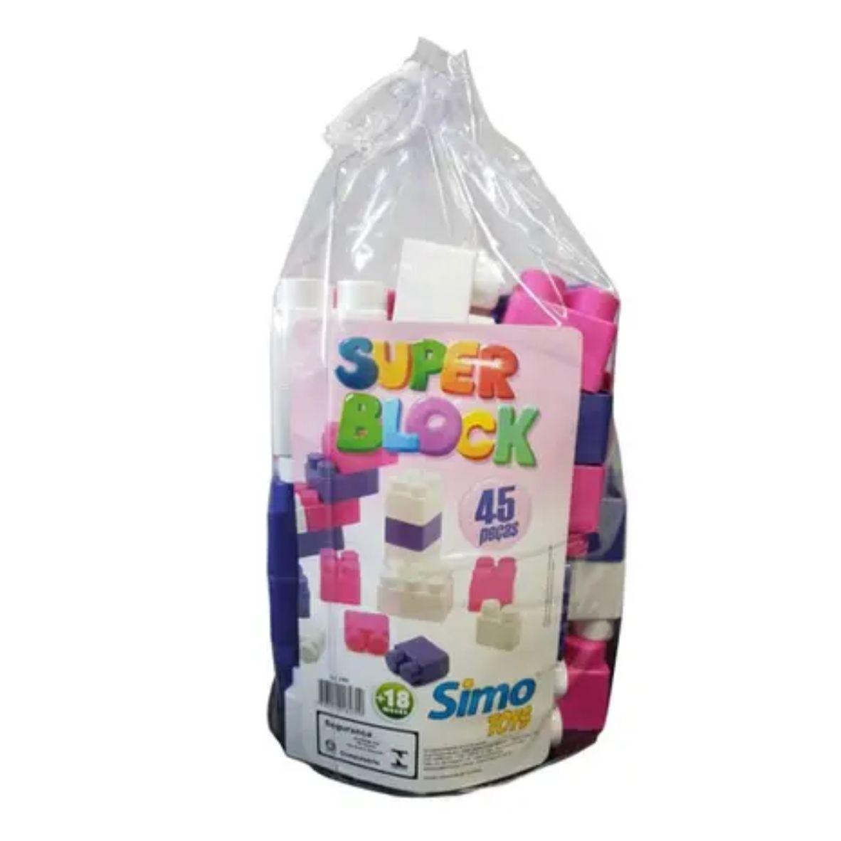 Blocos de Encaixe Super Block Menina - 45 Peças - Simo Toys