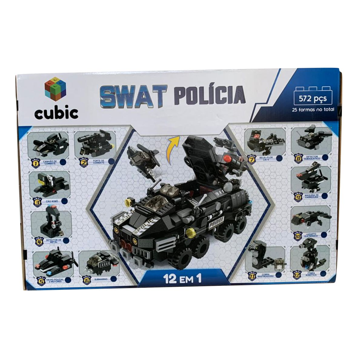 Blocos de Montar Swat Polícia 12 em 1 - 572 peças -  CUBIC