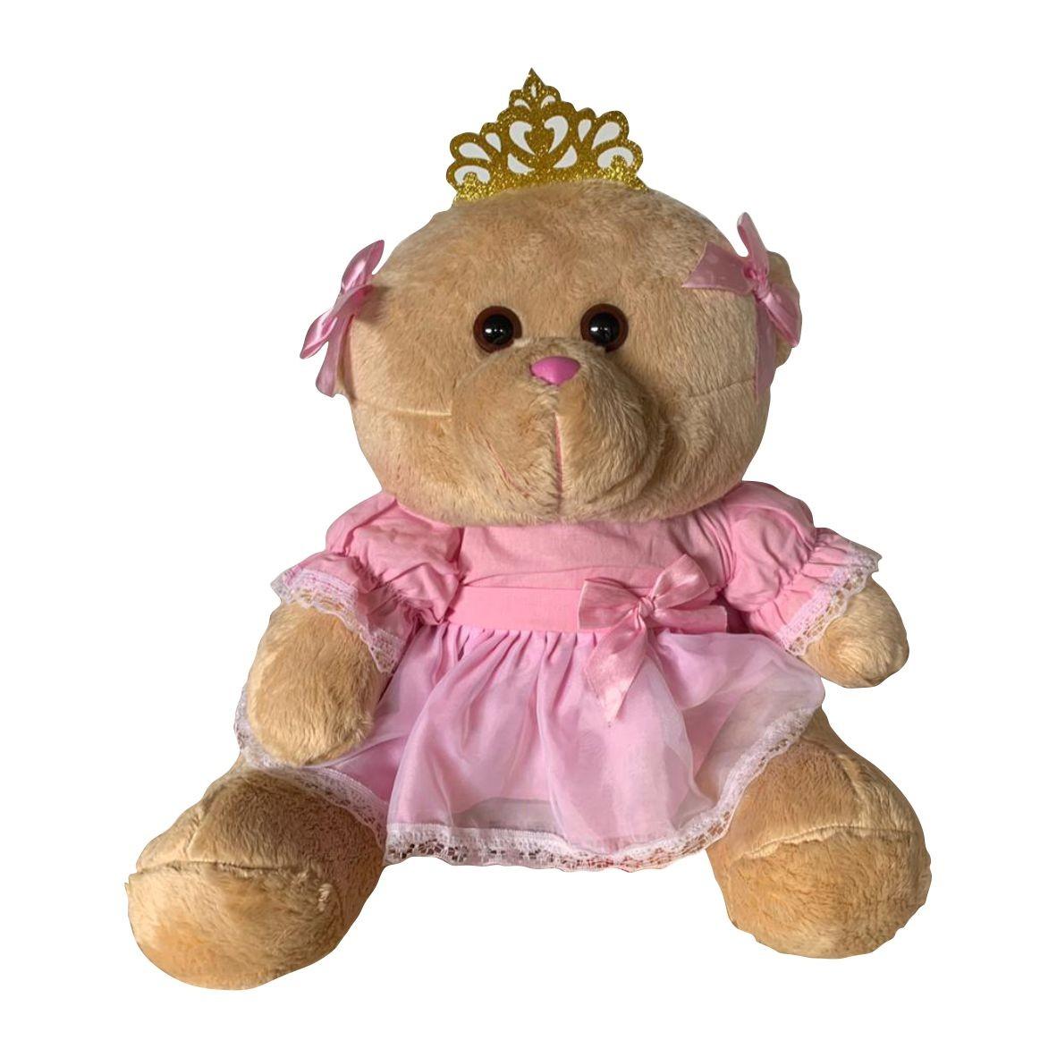 Ursa Princesa Real Rosa M em Pelúcia - Mury Baby