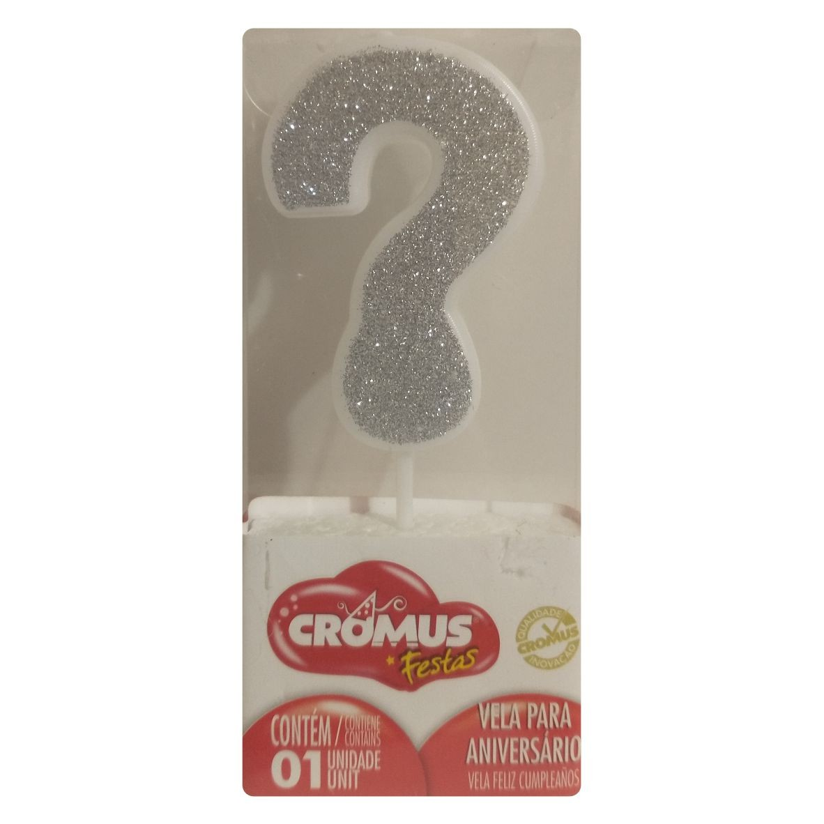 Vela Interrogação Glitter Prata - Cromus Festas