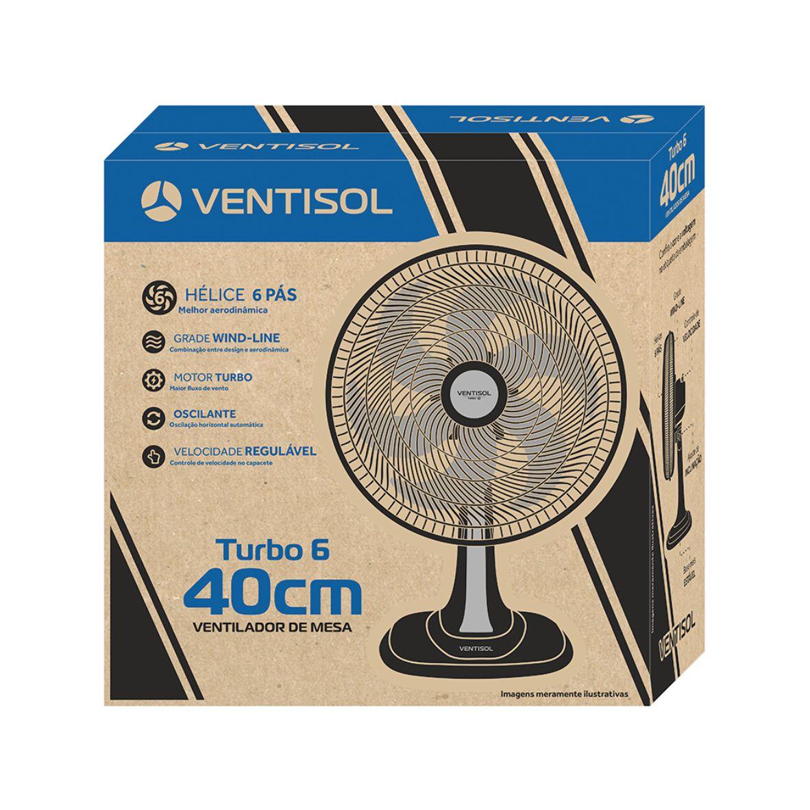 Ventilador Mesa turbo 6 Pás 40cm Bronze
