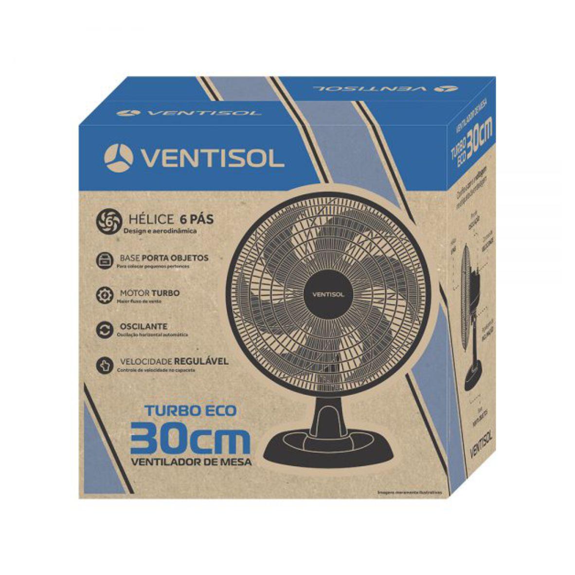 Ventilador Mesa Turbo Eco 30cm Preto
