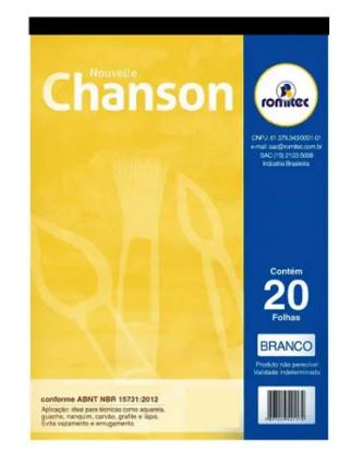 BLOCO PAPEL CHANSON DESENHO BRANCO A4 140G
