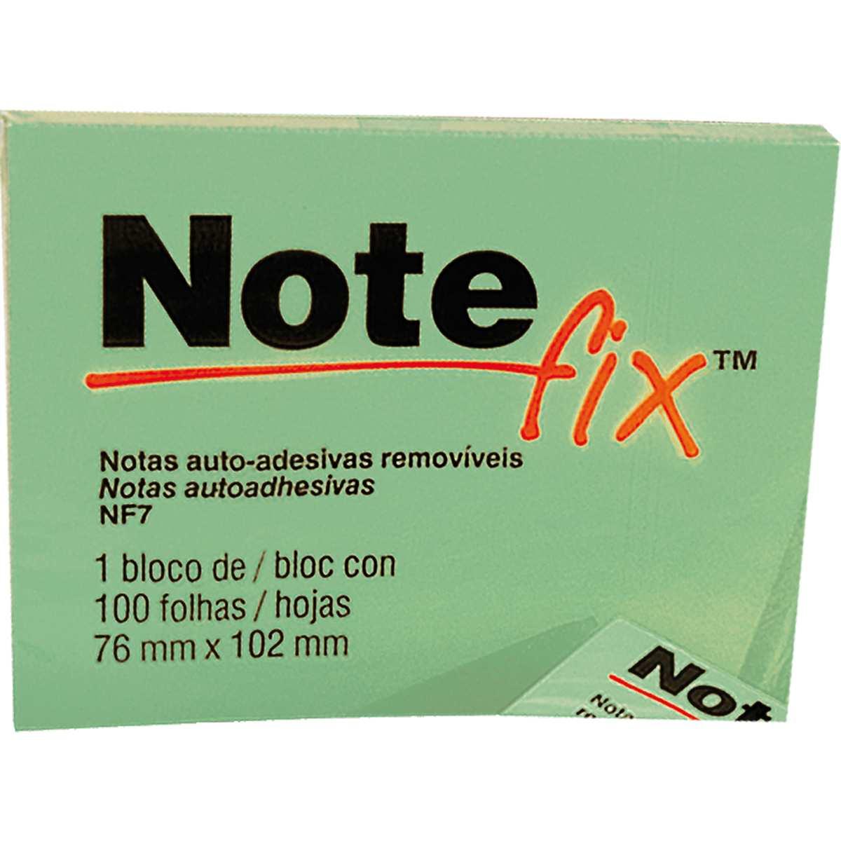 BLOCO RECADO ADESIVO NOTEFIX 76MM X 102MM VERDE