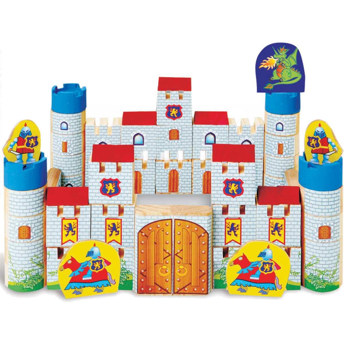 Brinquedo para Montar | Castelo Encantado Madeira 64Pc | Brinc. de Crianca