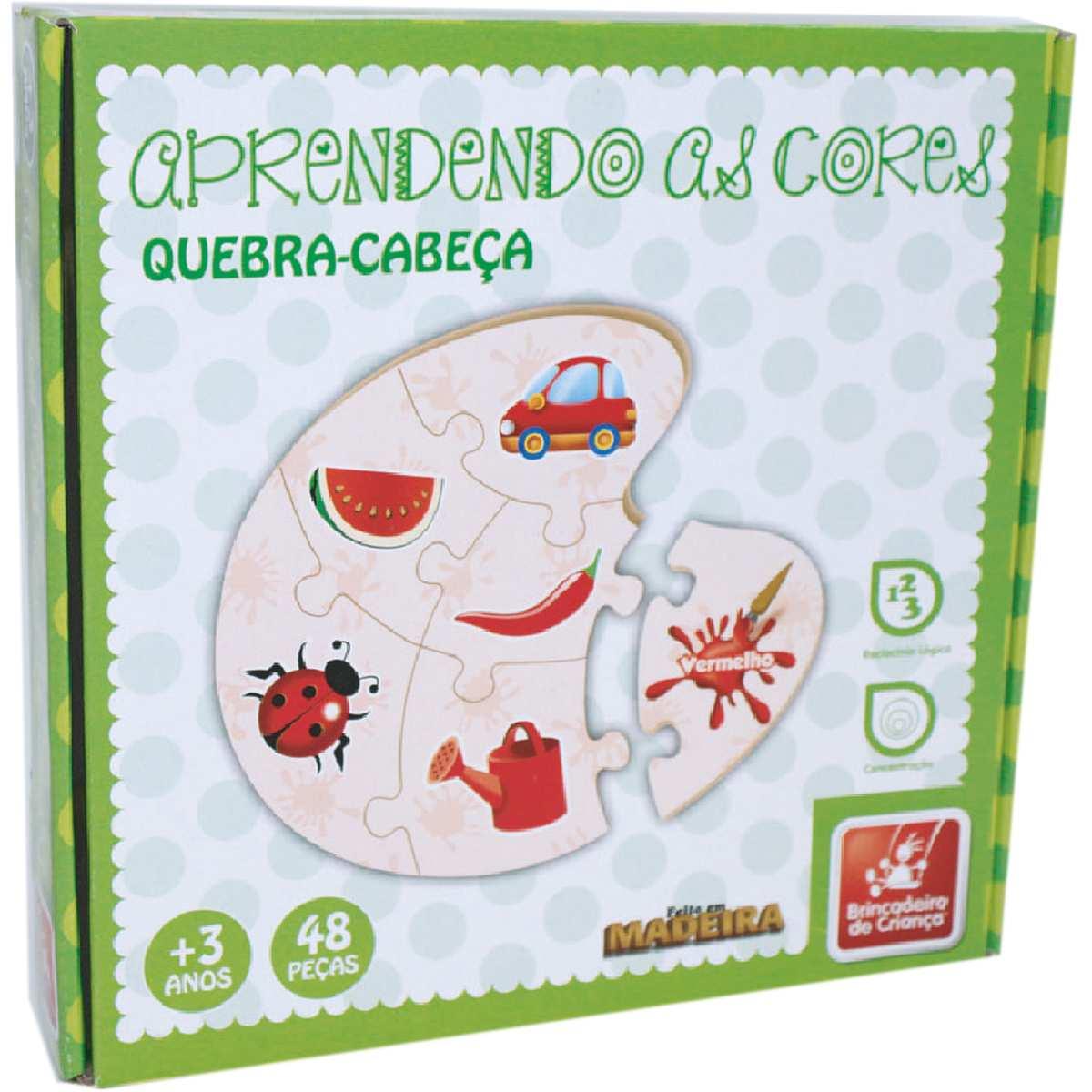 BRINQUEDO PEDAGOGICO MADEIRA APRENDENDO AS CORES 48 PECAS