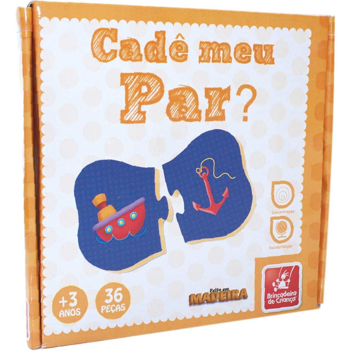 Brinquedo Pedagogico Madeira   Cade Meu Par 36 Peças   Brinc. de Crianca