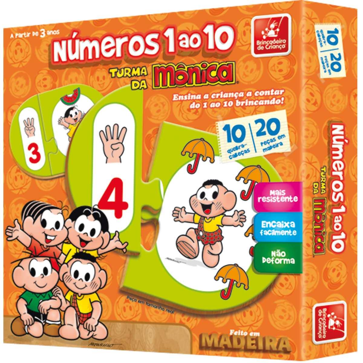 Brinquedo Pedagogico Madeira | T. da Monica Numeros 1 ao 10 | Brinc. de Crianca