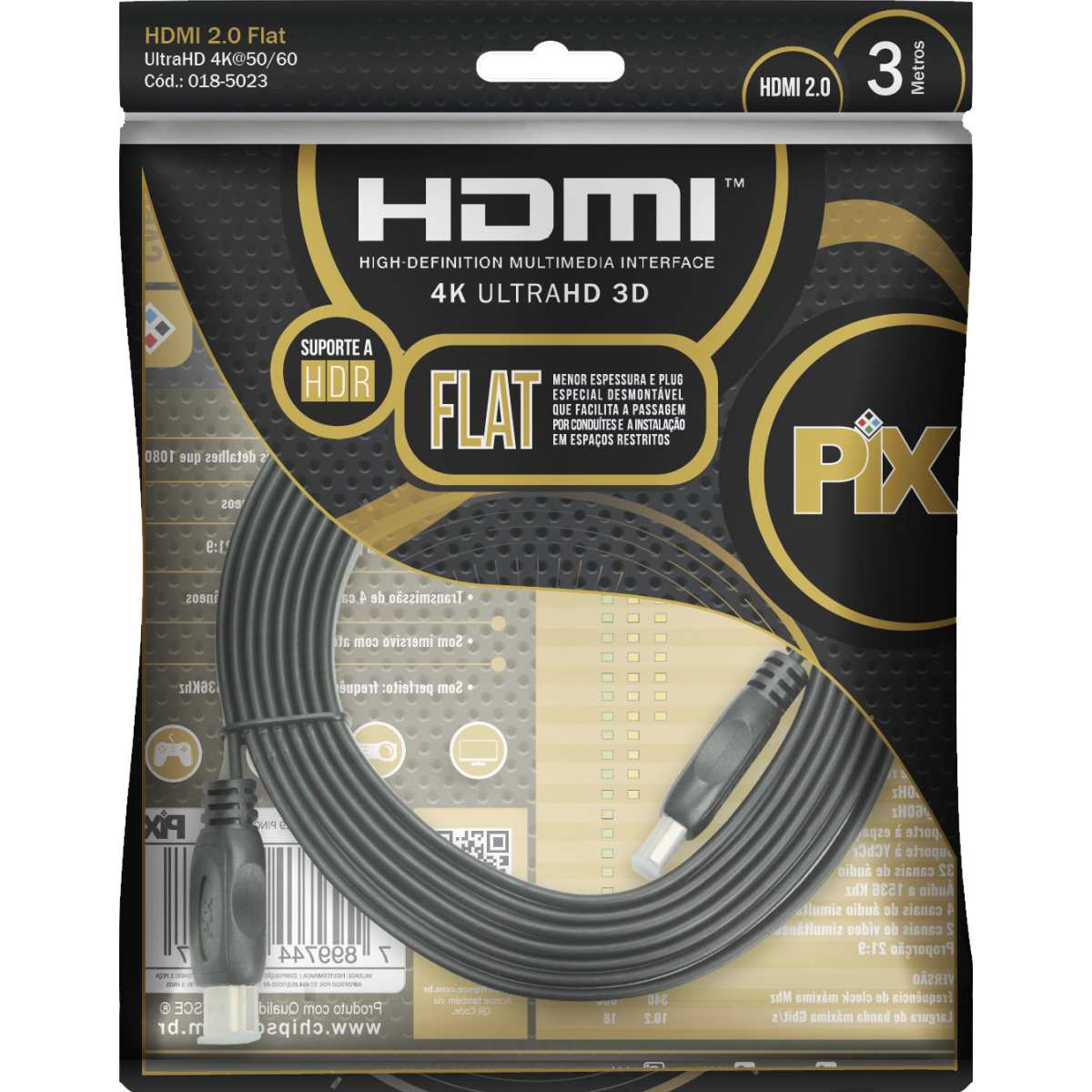 CABO HDMI X HDMI FLAT 2.0 4K 3MTS