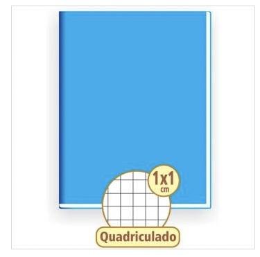 CADERNO QUADRICULADO 1 X 1 AZUL 48 FOLHAS