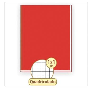 CADERNO QUADRICULADO 1 X 1 VERMELHO 48 FOLHAS